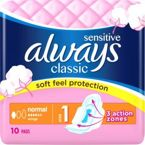 ALWAYS Classic Normal Sensitive podpaski 10 szt.